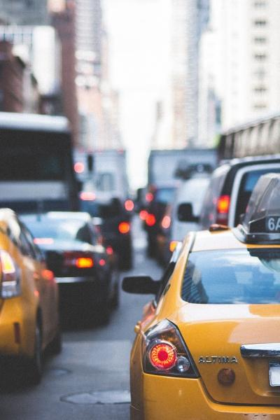 Taxis in New York City stuck in traffic