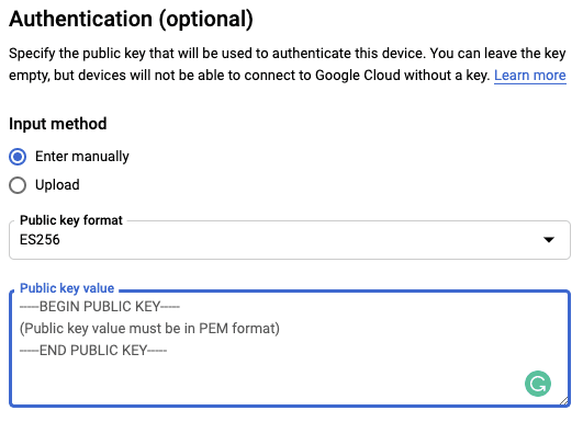 A screenshot of adding a public key to IoT Core in Google Cloud Platform