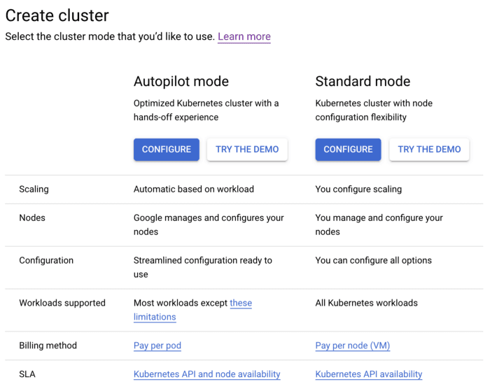 A screenshot of the Google Cloud console UI for creating a Kubernetes cluster